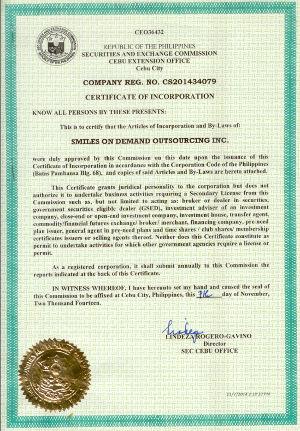 SEC Certificate